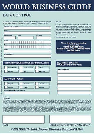World Business Guide - formulář